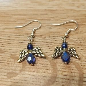 Sapphire and gold Angel earrings